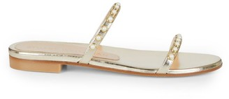 Stuart Weitzman Ameliese Faux Pearl-Embellished Metallic Leather Slides