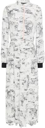 Markus Lupfer Kamile Pleated Printed Crepe Midi Dress