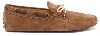 Tod's Gommino Leather-trimmed Suede Driving Shoes - Mens - Brown