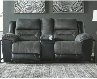 Signature Design by Ashley Earhart Slate Double Reclining Loveseat with Console