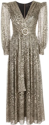 PatBO Metallic Leopard Maxi Dress