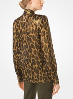 Michael Kors Leopard Silk-Lame Tie-Neck Blouse
