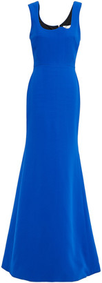 Victoria Beckham Fluted Zip-detailed Wool And Silk-blend Gown
