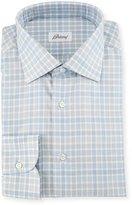 Brioni Check Dress Shirt, White/Blue/Gray