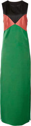 Marina Moscone Color-Block Satin Maxi Dress
