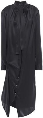 Ann Demeulemeester Asymmetric Tie-neck Silk-satin Midi Dress