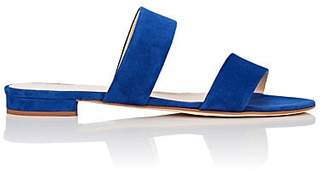 Barneys New York Women's Suede Double-Band Slide Sandals - Royal Blue