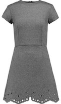 Carven Broderie Anglaise Paneled Jersey Mini Dress