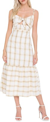 ENGLISH FACTORY Check-Print Front-Tie Maxi Dress