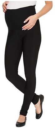 Plush Maternity Fleece-Lined Matte Spandex Leggings (Black) Women's Clothing