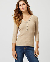 Le Château Rib Tweed Henley Neck Sweater