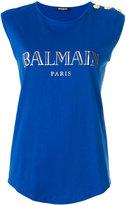 Balmain iconic logo top - women - Cotton - 38