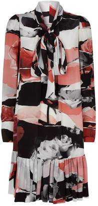 Alexander McQueen Silk Floral Pussybow Dress