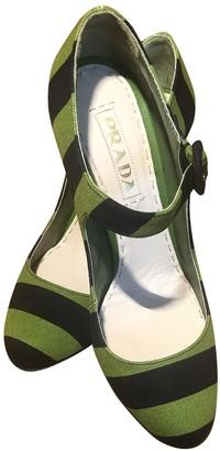 Prada Mary Jane Green Cloth Heels