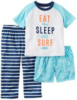 Carter's Baby Boy Graphic Tee, Print Shorts & Striped Pants Pajama Set
