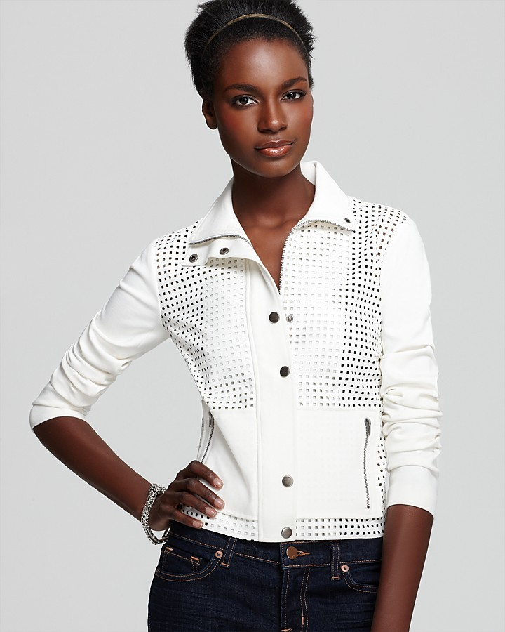 Plenty by Tracy Reese Quotation Jacket - Perforated Faux Leather