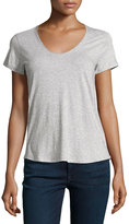 Vince Rounded V-Neck Jersey Tee, Heather Gray