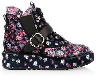 Coach X Tabitha Simmons Chelsea Floral-Print Velvet Urban Hiker Boots