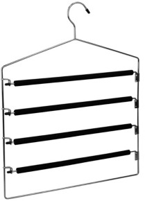 Home Basics 4 Tier Swinging Arm Steel Pants Hanger with Soft Grip Foam Coated Rods