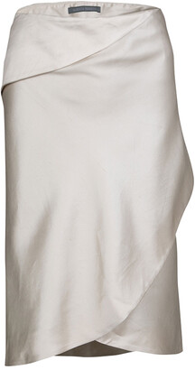 Alberta Ferretti Beige Slub Cotton and Silk Draped Asymmetric Pencil Skirt L