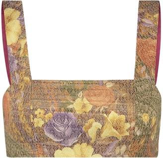 Monique Singh Iconic Ethereal Floral Jacquard Crop Top