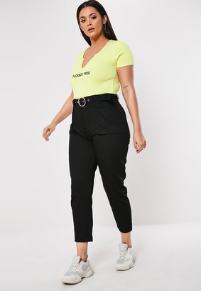 Missguided Plus Size Black Belt Detail Cargo Trousers