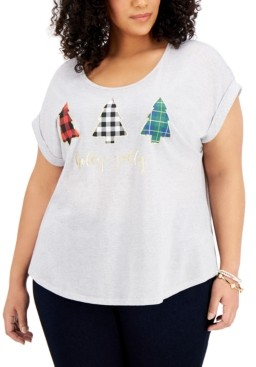 Style&Co. Style & Co Plus Size Graphic Print Christmas Tree T-Shirt, Created for Macy's