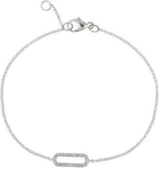Carriere Sterling Silver Pave Diamond Open Oval Bracelet - 0.09 ctw