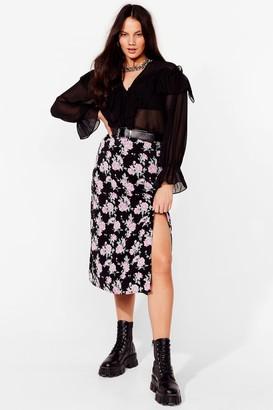 Nasty Gal Womens Bad and Bouquet Plus Midi Skirt - Black