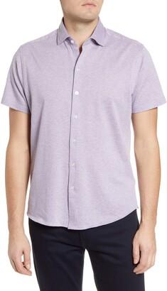 Robert Barakett Luntren Short Sleeve Knit Button-Up Shirt