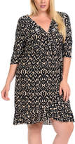 Bellino Taupe & Black Abstract Ruffled V-Neck Dress - Plus
