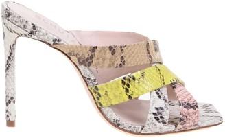 Schutz Multicolor Color Pythoned Leather Sandal