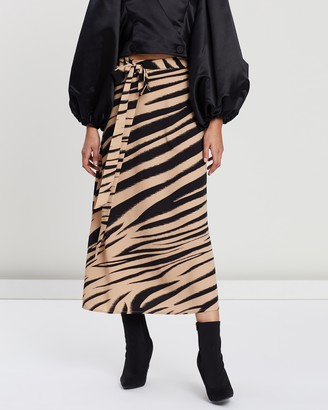 Beaufille Printed Fluid Crepe Collins Skirt