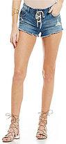 Billabong Lite Hearted Lace-Up Distressed Frayed Hem Stretch Denim Shorts