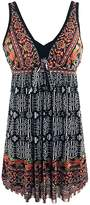 Sliver Color Women's Plus Size Swimdress Flower Printed Swimwear Cover Up Swimsuits