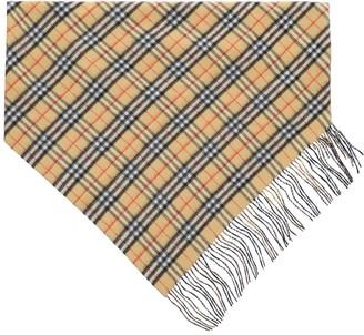 Burberry vintage check double layer cashmere bandana scarf