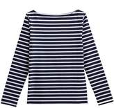 Striped Cotton Boat-Neck T-Shirt with Long Sleeves
