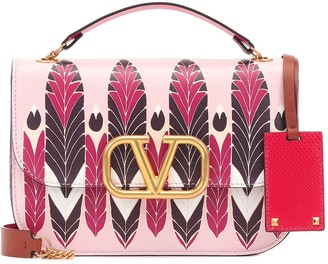 Valentino VLOCK printed leather shoulder bag