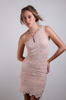 Nightcap Clothing One Shoulder Victorian Dress in Nude