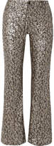 Anna Sui Twinkling Stars At Night Sequined Mesh Wide-leg Pants - Gold