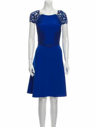Marchesa Notte Bateau Neckline Knee-Length Dress w/ Tags Blue