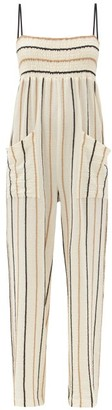 Three Graces London Tallie Smocked Cotton-blend Cheesecloth Jumpsuit - Yellow Stripe