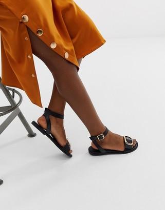 Asos DESIGN Flora flat sandals in black