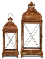 """A&B Home Set of 2 Metal Lanterns with Antique Finish - 28"""" and 20"""""""