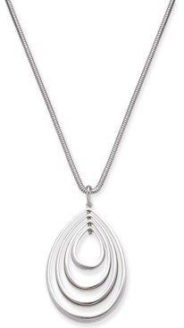 "Alfani Silver-Tone Ascending Teardrop 37"" Pendant Necklace, Created for Macy's"