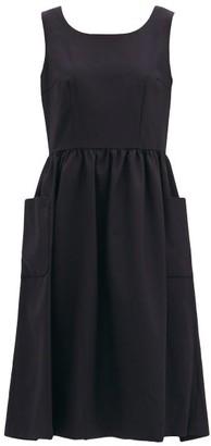 COMME DES GARÇONS GIRL Pleated Wool-twill Pinafore Dress - Navy