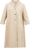 Prada Triangle-applique Denim Coat - Womens - Beige