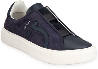Salvatore Ferragamo Men's Tasko Suede Slip-On Sneakers