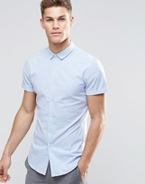 Asos Skinny Oxford Stripe Shirt In Blue