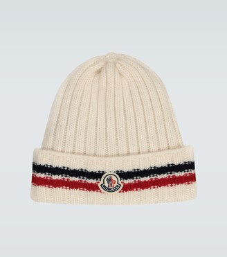 Moncler Wool tricot beanie with logo